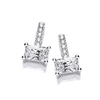 Silver and Emerald Cut CZ Earrings