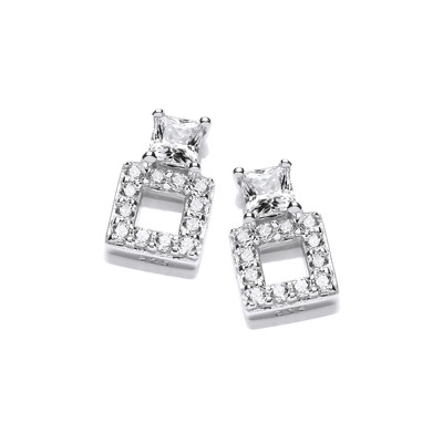 'Square Up' Silver and Cubic Zirconia Stud Earrings