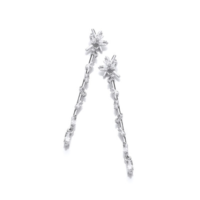 Silver & Cubic Zirconia Icicle Drop Earrings
