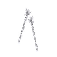 Silver and CZ Icicle Drop Earrings