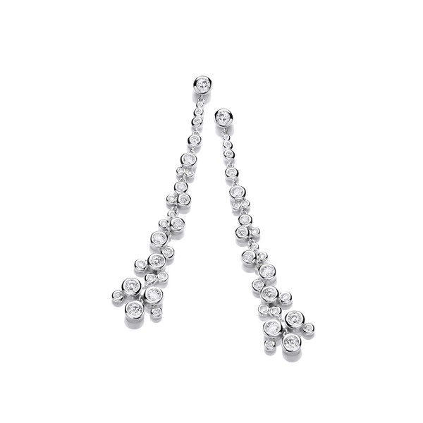 Silver & Cubic Zirconia Cascade Drop Earrings