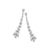Silver and CZ Cascade Drop Earrings