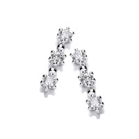 Silver and CZ Tri Star Earrings