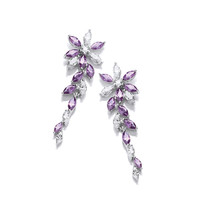 Silver and Amethyst CZ Floral Earrings