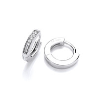 Diddy Silver and CZ Huggie Earrings