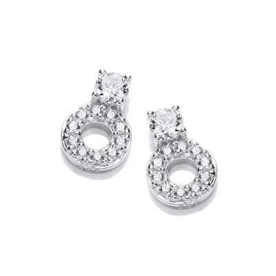Cubic Zirconia Solitaire and Circle Earrings