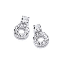 CZ Solitiare and Circle Earrings