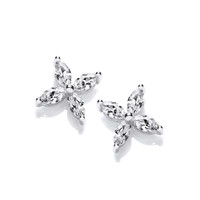 Silver and CZ Flower Stud Earrings