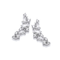 Silver and CZ Mosaic Earrings