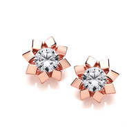 Golden Flower Stud Earrings