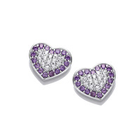 Silver and Amethyst CZ Heart Earrings