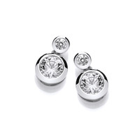 Double Up Silver and CZ Earrings
