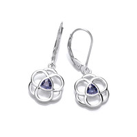Celtic Silver and Tanzanite CZ Earrings