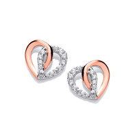 Silver and Rose Gold Entwined heart Earrings
