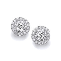 Simple Silver and CZ Stud Earrings