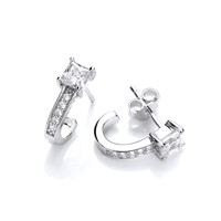 Silver and CZ Half Hoop Earrings