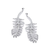 Fine Feather Silver and CZ Earrings