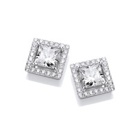 Deco Style Square Cubic Zirconia Halo Earrings