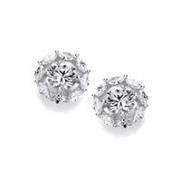 Round Silver & Cubic Zirconia Halo Earrings