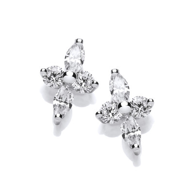 Silver and Cubic Zirconia Starry Cross Earrings