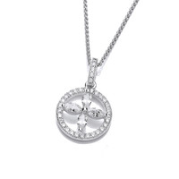 Silver and CZ Circled Flower Pendant