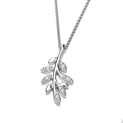 Silver and CZ Sprig Pendant