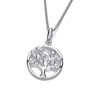 Silver and CZ Mini Tree of Life Design Pendant