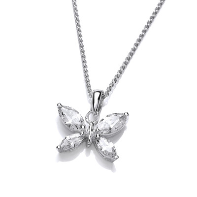 Simple Silver and CZ Butterfly Pendant