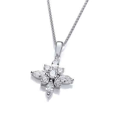 Silver and CZ Shining Star Pendant