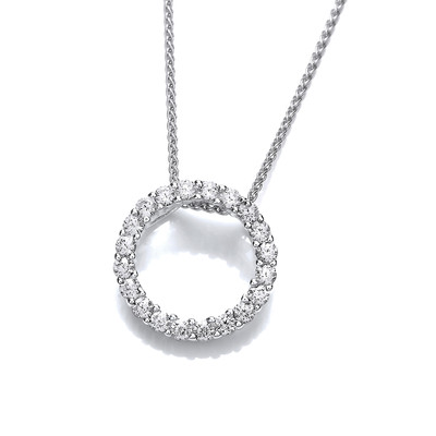 Silver and Glittering CZ Circle Pendant