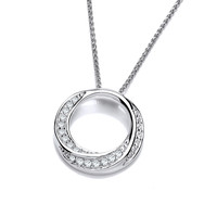 Silver and CZ Swirly Circle Pendant