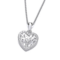 Mini CZ Heart Shape Tree of Life Pendant