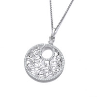 Ornate Silver and CZ Circular Pendant