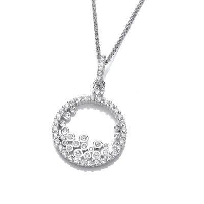 Silver and Tumbling CZ's Pendant