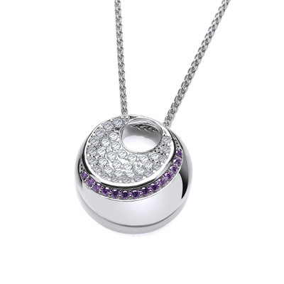 Silver and Amethyst CZ Moon Necklace