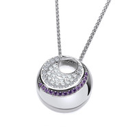 Silver and Amethyst Cubic Zirconia Moon Necklace