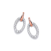 Silver, Rose Gold  and Cubic Zirconia Loop Earrings