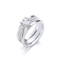 Twisted Silver Bands and CZ Solitaire Ring