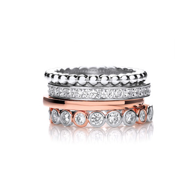 Silver, Rose Gold and CZ Mix and Match Stacking Rings