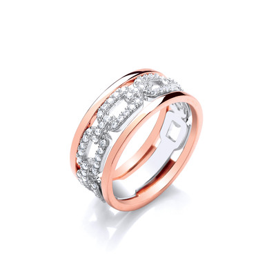 Silver, Rose Gold and CZ Links Ring
