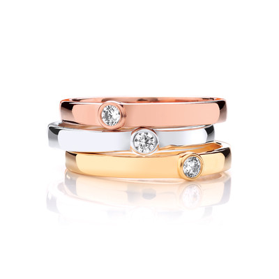 Silver, Yellow and Rose Gold Band Ring