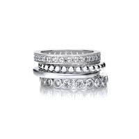 Silver and CZ Mix and Match Stacking Rings