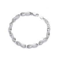 Silver and CZ Infinity Twist Bracelet