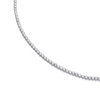 Silver and CZ Solitaire Tennis Necklace