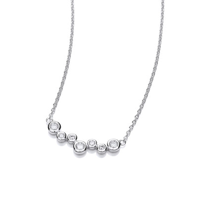 Silver and Cubic Zirconia Bubble Mix Necklace
