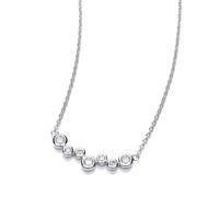 Silver and CZ Bubble Mix Necklace