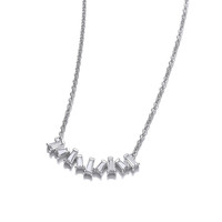 Silver and CZ Cluster Necklace
