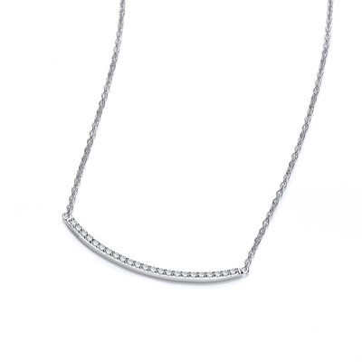 Silver and Cubic Zirconia Smile Necklace