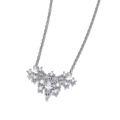Deco Style Cubic Zirconia Butterfly Necklace