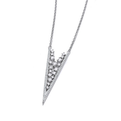Deco Style Silver and Cubic Zirconia Lace Necklace